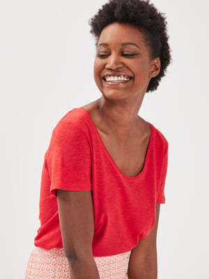 T shirt manches courtes Instinct rouge femme