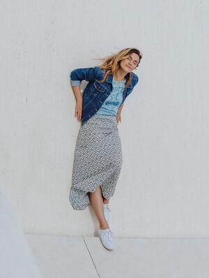 Jupe longue droite bleu marine femme