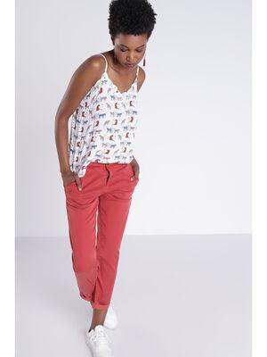 Pantalon chino orange fonce femme