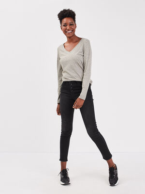 Pantalon slim boutonne denim noir femme