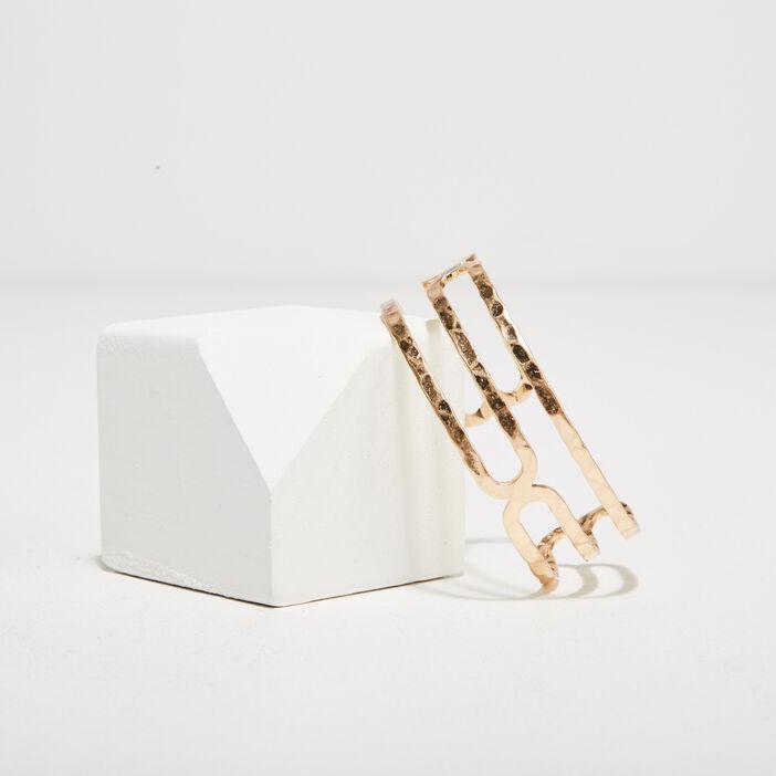 Bracelet manchette martelé couleur or femme