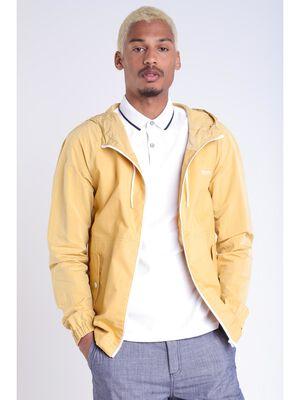 Veste droite zippee a capuche jaune moutarde homme