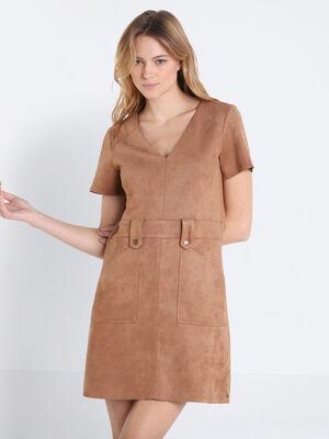 Robe cintree manches courtes marron clair femme