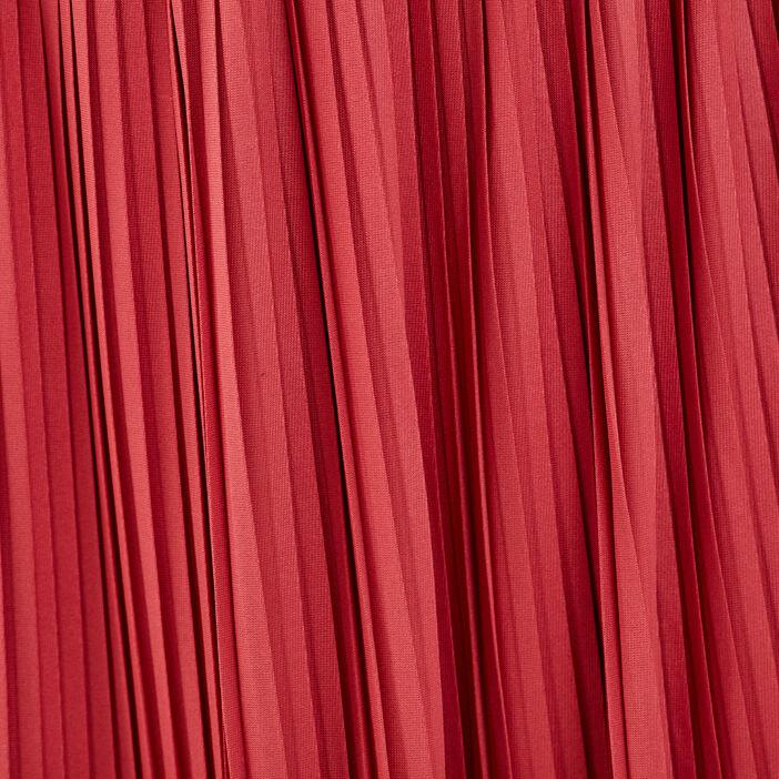 Jupe longue évasée plissée terracotta femme