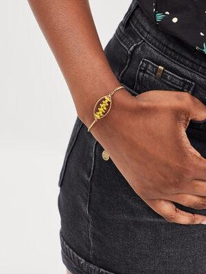 Bracelet avec perles couleur or femme