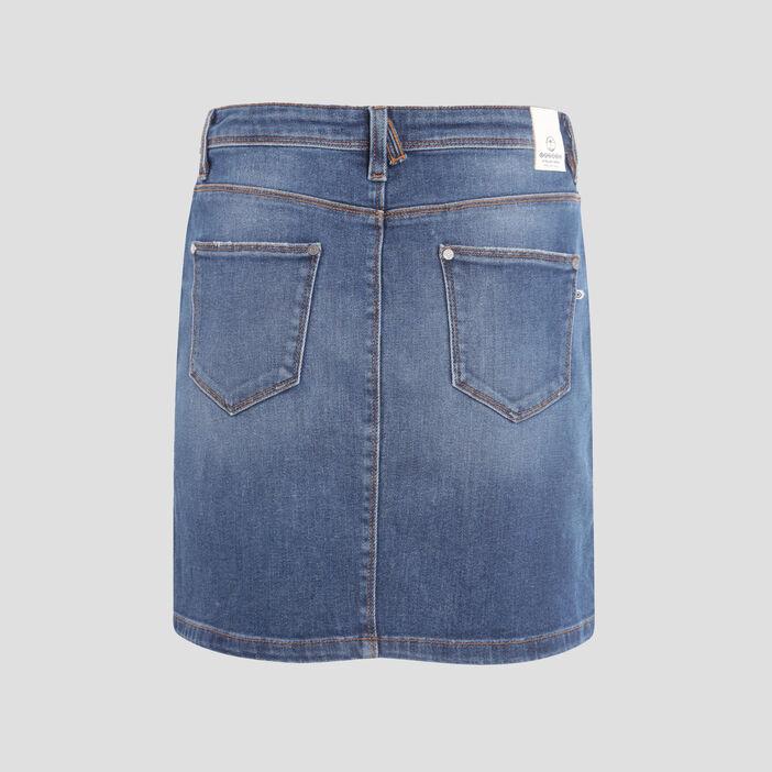 Jupe droite en jean denim used femme