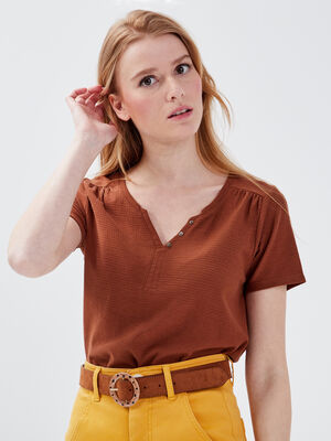 T shirt eco responsable marron femme