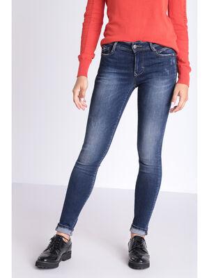 Jeans skinny details zippes denim brut femme