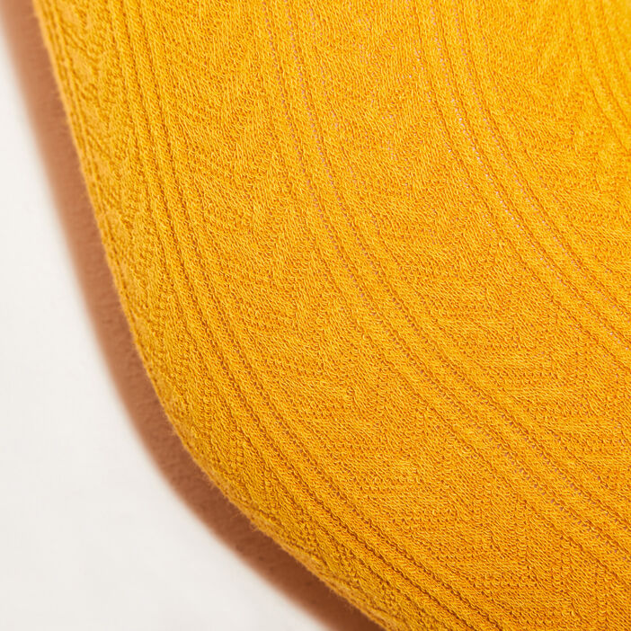 Collants maille fantaisie jaune moutarde femme