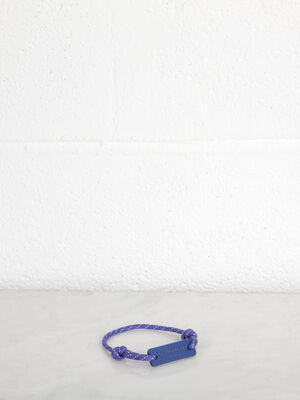 Bracelet plaquette cuir a message bleu fonce homme