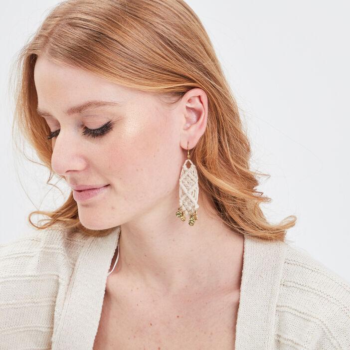 Boucles d'oreilles pendantes ecru femme