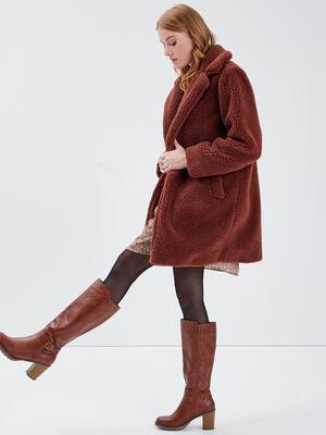 Manteau droit boutonne marron fonce femme