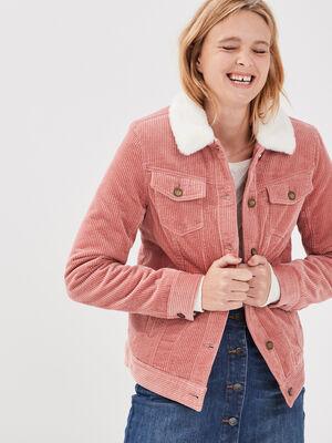 Veste droite velours cotele vieux rose femme