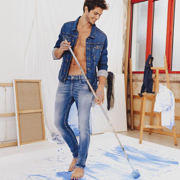 Veste droite boutonnée en jean denim stone homme