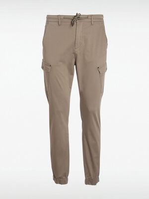 Pantalon cargo ceinture cordon vert kaki homme