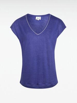 T shirt lin bleu violet femme