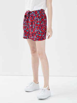Short droit ceinture rose cerise femme