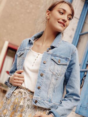 Veste droite boutonnee en jean denim bleach femme