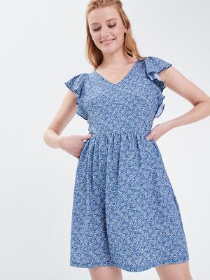Robe droite manches courtes bleu femme