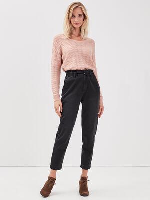 Jeans Slouchy taille haute denim noir femme