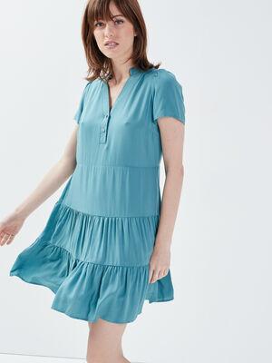Robe droite manches courtes vert fonce femme