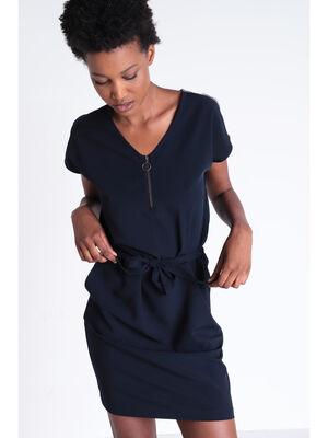Robe detail zip bleu fonce femme