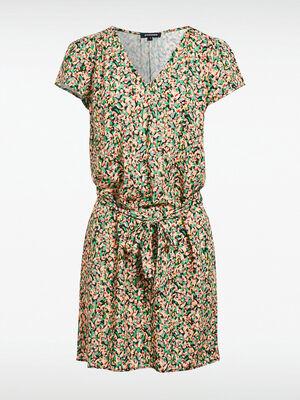 Robe droite ceinturee multicolore femme