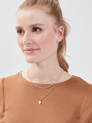 Lot 3 colliers ecru femme