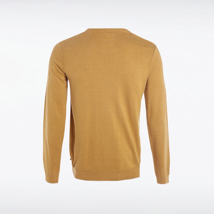 Pull col rond maille fantaisie camel homme