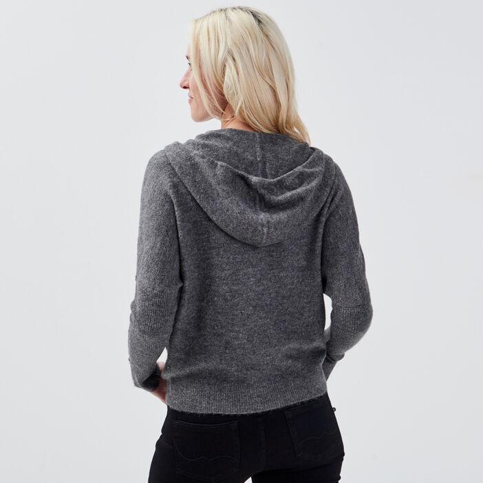 Pull manches longues à capuche gris foncé femme