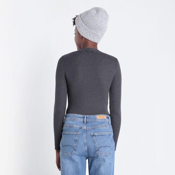 Pull manches longues côtelé gris foncé femme