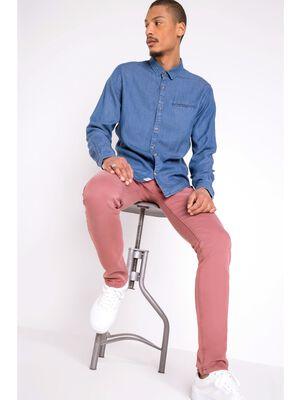 pantalon chino slim homme effet used vieux rose