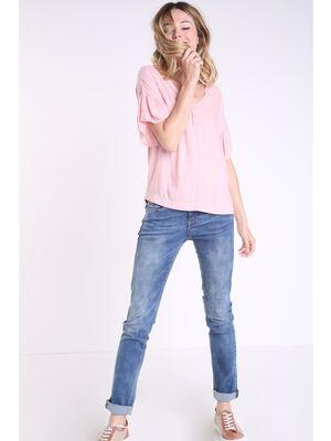 Chemise col en V avec volants rose clair femme