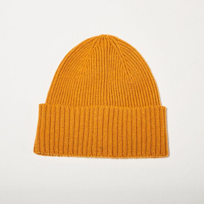 Bonnet tricoté jaune moutarde homme