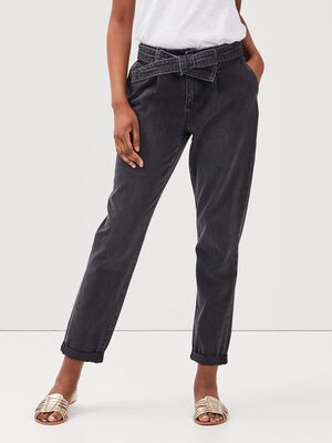 Jeans mom ceinture denim noir femme