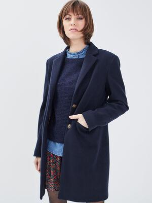 Manteau droit boutonne bleu marine femme
