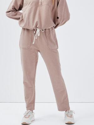 Pantalon jogging taupe femme