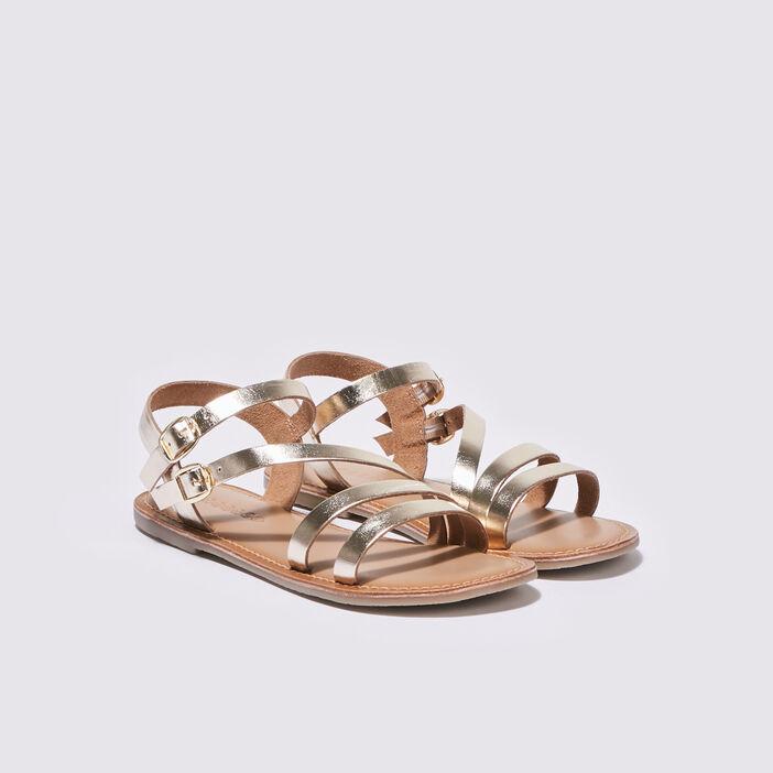 Sandales plates jaune or femme