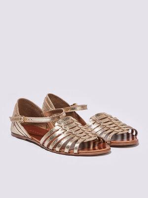 Sandales plates multi brides jaune or femme