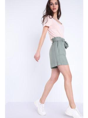 Short paper bag avec poches vert kaki femme
