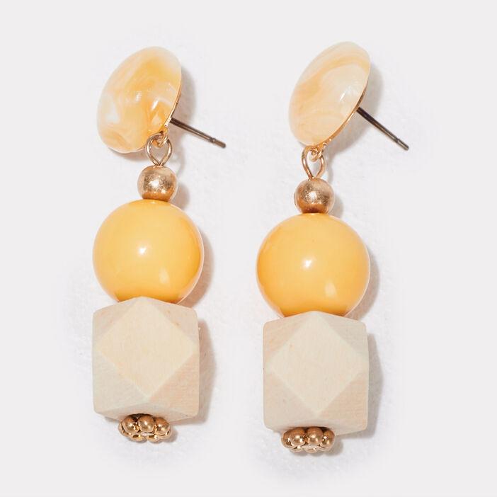 Boucles d'oreilles pendantes jaune or femme