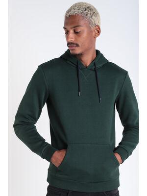 Sweat manches longues capuche vert fonce homme