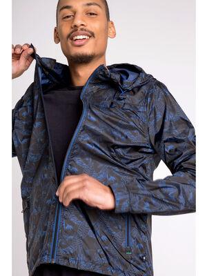 Veste col a capuche motif vegetal bleu fonce homme