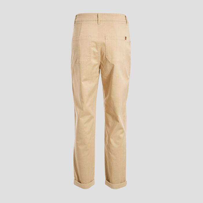 Pantalon cargo boutonné beige femme