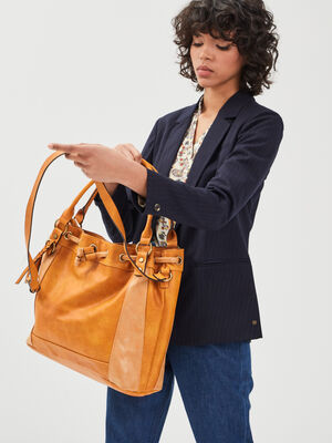 Sac bandouliere a coulisse jaune or femme