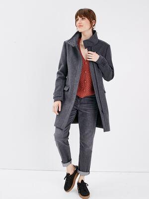 Manteau long col montant gris fonce femme
