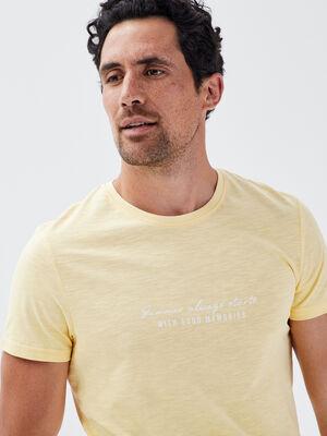 T shirt manches courtes jaune pastel homme