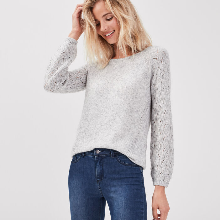 Pull manches longues gris femme
