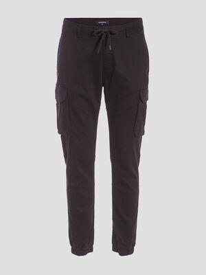 Pantalon cargo taille a cordon noir homme