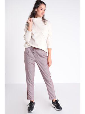 Pantalon chino cordon a nouer violet fonce femme